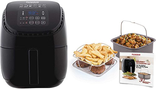 NuWave Brio Black 3 Quart Digital Air Fryer with 3 Piece Gourmet Accessory Kit