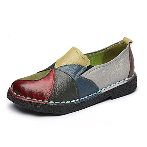 Image of Socofy Slip-on Loafer, Women's Rainbow Leather Casual Loafer Flat Walking Shoes Driving Loafers Moccasin Slippers Green 10 B(M) US