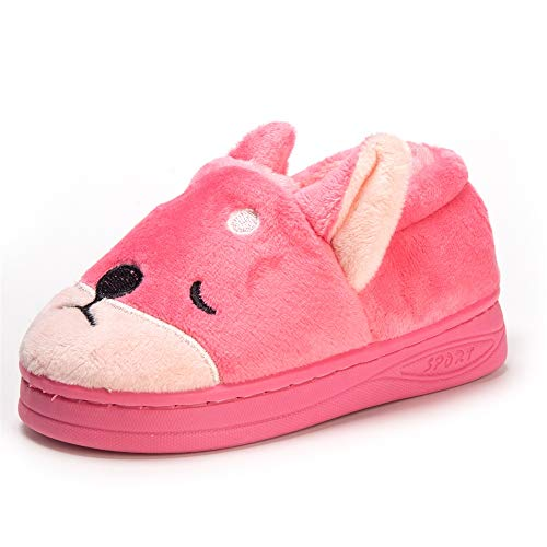 Doggy Toddler Little Kids Plush Slippers Boys Girls Winter Warm Indoor Bedroom Shoes with Fur Pink