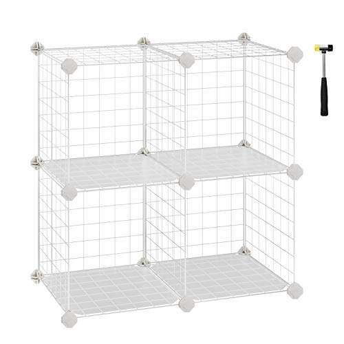 SONGMICS Metal Wire Storage Cube, Shelves Organizer,Stackable Storage Bins, Modular Bookcase, DIY Closet Cabinet Shelf, 24.8
