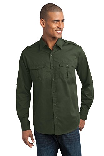 port-authority-mens-stain-resistant-roll-sleeve-twill-shirt-xl-basil-green