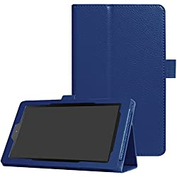 CCMAO All-New Fire 7 Tablet Case,Ultra Slim Premium PU Leather Folio Smart Cover For All-New Fire 7 (7th Generation, 2017 Release) (marine blue)