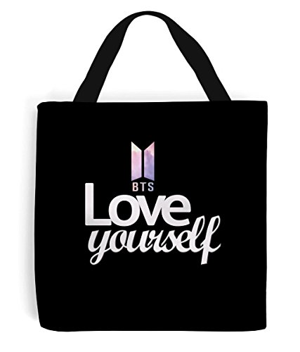 Printed Sewn on Yourself Both Tote by Bag Love BTS Sides Love Hand and Yourself Printed 7wpI0n8fq