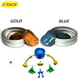 HONGCI 2Pcs New Super Magnetic Putty -Super Magnetic Crazy Playdough Magnetic Creative Toy for Boys, Girls, Children's Prizes-50g(Gold+Blue)