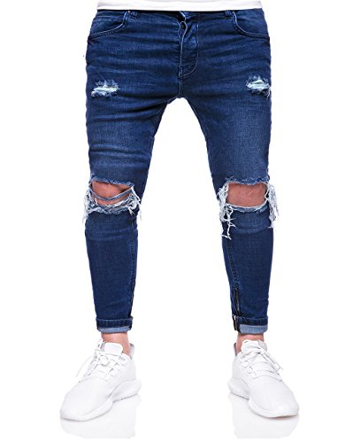 (SUNSIOM Men's Ripped Destroyed Jeans Stretchy Knee Holes Skinny Tapered Leg Denim Pants (Blue, 32))