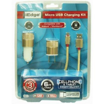 DDI 2266654 3 In 1 Micro Charging Kit with 6 ft.Braided Cable Plus 1 Port Wall Charger Plus 1 amp Car Charger44; Case of 48