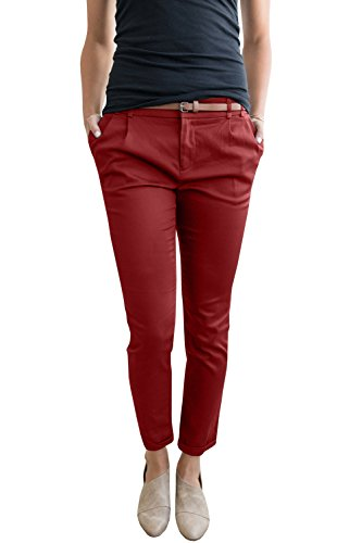 - Liyuandian Womens Casual Straight Leg Comfy Stretch Flat Front Cropped Work Pants Pockets