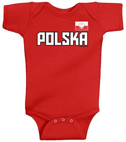 Threadrock Unisex Baby Polska National Pride Bodysuit 18M Red (Infant Bodysuit Polish)
