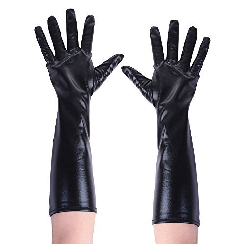 Kloud City Women Shiny PU Leather Bunny Elbow Finger Mitten Evening Long Gloves