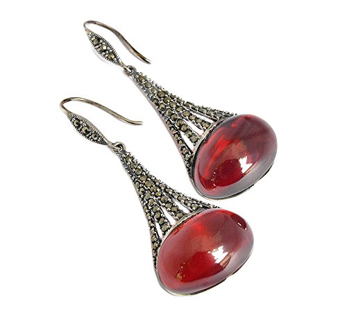 Red Glass Marcasite 925 Sterling Silver Hanging Earrings