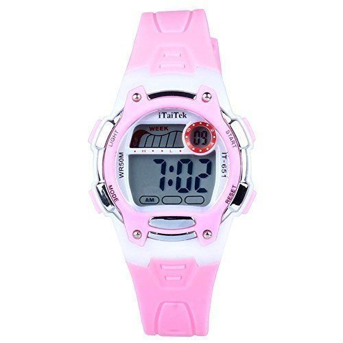 hiwatch-kids-digital-watches-waterproof-led-sport-watches-with-alarm-for-boys-and-girls-pink