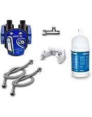 Ondertafel-waterfilter: BRITA filterkop, BRITA filter P1000, flexibele slang, hoekventiel adapter