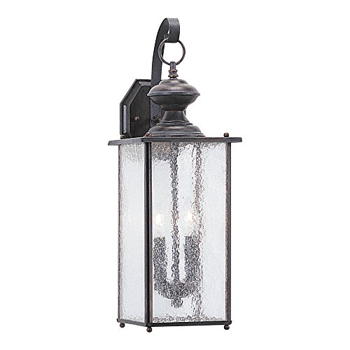 Sea Gull Lighting 8883-08 Jamestowne Two-Light Outdoor Wall Lantern with Clear Seeded Glass Panels, Textured Rust Patina Finish