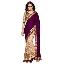 Lookslady Women's Designer Party Wear Embroidered Brasso Saree Sari Blouse