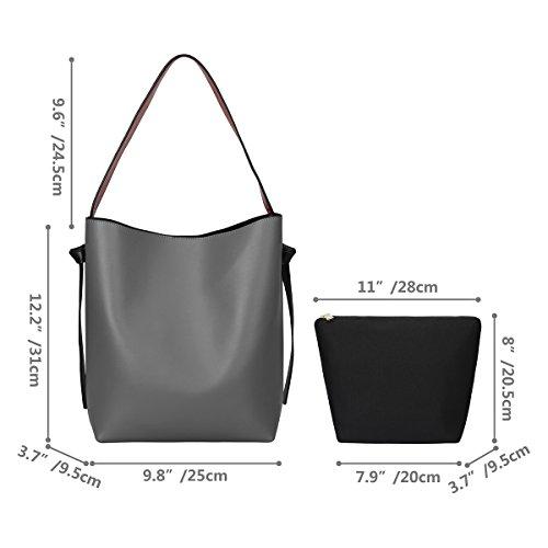 S-ZONE bolso de hombro del totalizador del cuero genuino del color de las mujeres calientes de la venta Gris-Blanco