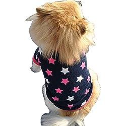 Voberry Small Dog Shirt, Fashion Puppy Doggy Apparel Cotton Costumes Pet Dog Cat Funny Shirt T Shirt (L, Blue)