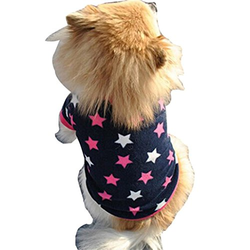 Voberry Small Dog Shirt, Fashion Puppy Doggy Apparel Cotton Costumes Pet Dog Cat Funny Shirt T Shirt (M, Blue)
