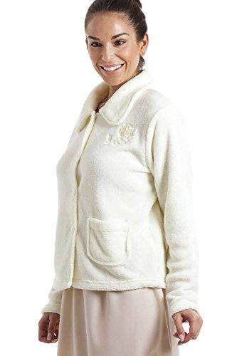 Douce par Femme Chaude en Boutons Pyjama Ivoire Polaire et de Blanc Veste Fermeture wxHzIqfq