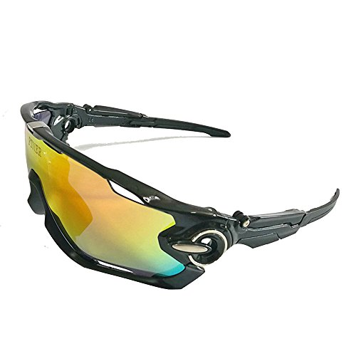 2017 Hot Selling 5 Lens Sports Polarized Sunglasses Bike Bicycle Man Woman UV400 (black&silver, - 2017 Sunglasses Hot