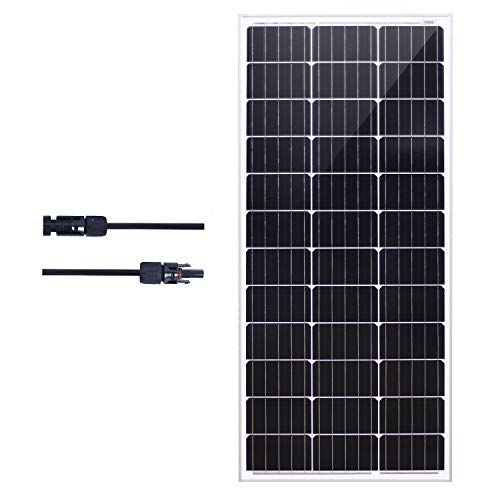 Industrial Solar Panel - KOMAES Solar 100W Monocrystalline Solar Panel 12V Charger with MC4 Connector for deep Cycle Battery, Perfect for Residential, Industrial, RV, Boat, Camping, Off Grid Installation