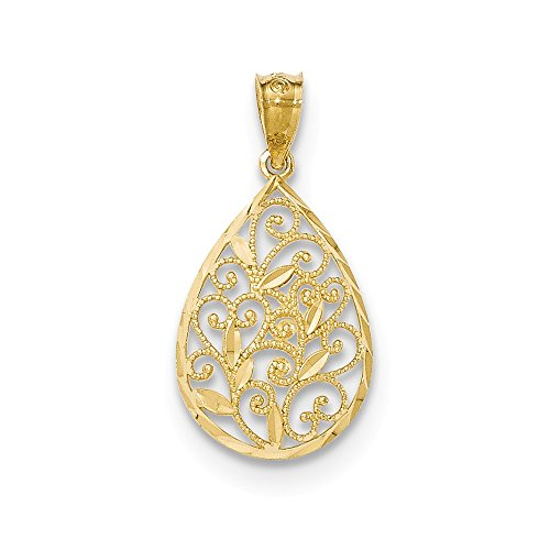 14k Yellow Gold Small Filigree Teardrop Pendant