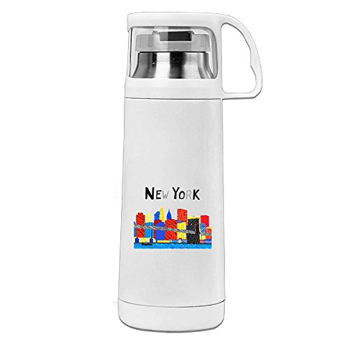 Bhfadso New York Manhattan Skyline Thermo Mug Vacuum Flask Insulated Travel Mug