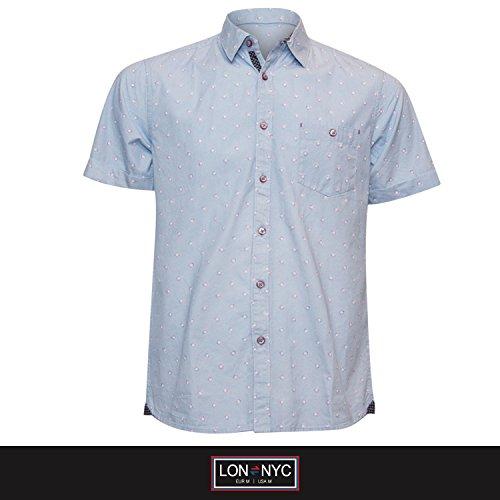 Lon-NYC Men's Spread Collar Short Sleeve Single Pocket Printed Button Down Shirt Light Blue Small (Single Stand Collar Printed)
