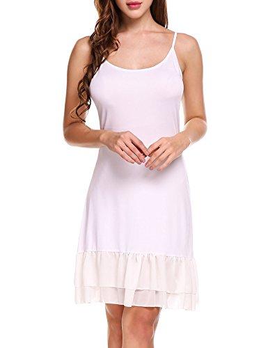 Zeagoo Women's Adjustable Spaghetti Strap Chiffon Ruffle Camisole Dress (Ruffle Hem Slip Dress)