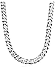 DWJSu Stainless Steel Cuban Link Curb Rope Chain Necklace for Men Women, 5/7/9 mm Width, 20/22/24 inch Length