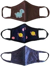 unik Kids Cloth Face Covering 3 Pack, 2 Layers, Cotton, Designer, Washable, Reusable, Multi Pack- Brachiosaurus Dinosaur/Galaxy/Dark Grey Kids Size