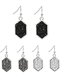 Colorful Faux Druzy Drop Earrings Hexagon Drusy Stone Jewelry Silver Plated Best Friend Christmas Gift