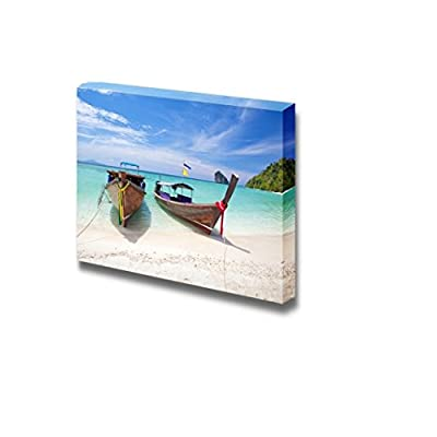 Canvas Prints Wall Art Beautiful Seascape of Two Boats on White Beach Clear Sea Modern Wall/Home Decor 32