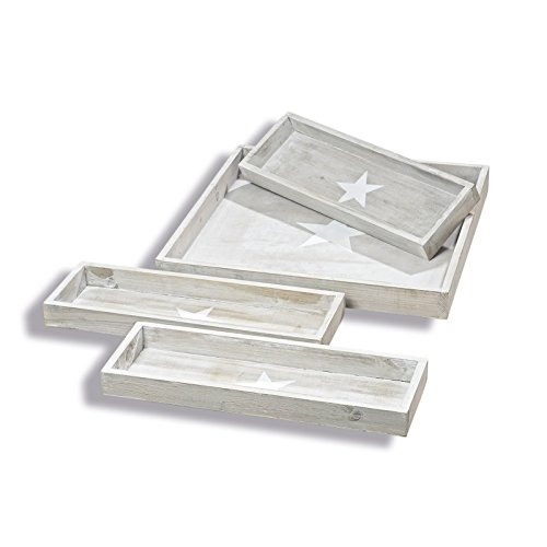 WHW Whole House Worlds Cape Cod Star Table Top Decorative Trays, Set of 4, Nautical Gray and Rustic White, Sustainable Wood, Shabby Style, Variety of Sizes from 19 x 19 -