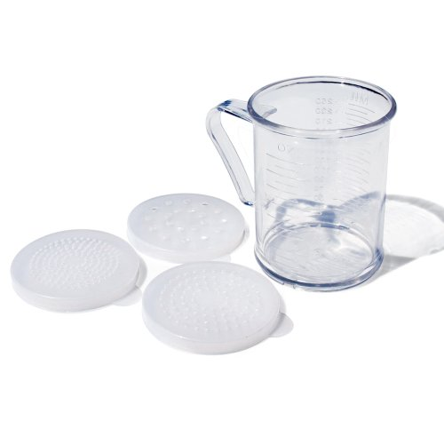 New Star Foodservice 22513 Polycarbonate Dredge Shaker with 3 Lids, 10-Ounce, - Dredge Shaker