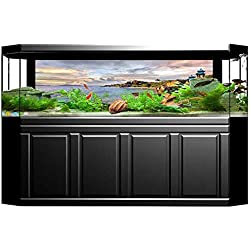 """UHOO2018 Fish Tank Backdrop Static Cling Tropical Rock Sandy Beach at Sunset in Island with Majestic Sky Light Art PVC Decoration Paper Cling Decals Sticker 29.5""""x21.6"""""""