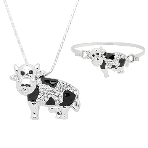 Lola Bella Gifts Crystal Detail Cow Theme Necklace and Bracelet Set with Gift Box