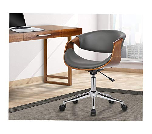 Wood & Style Office Home Furniture Premium Geneva Office Chair in Grey Faux Leather and Chrome Finish
