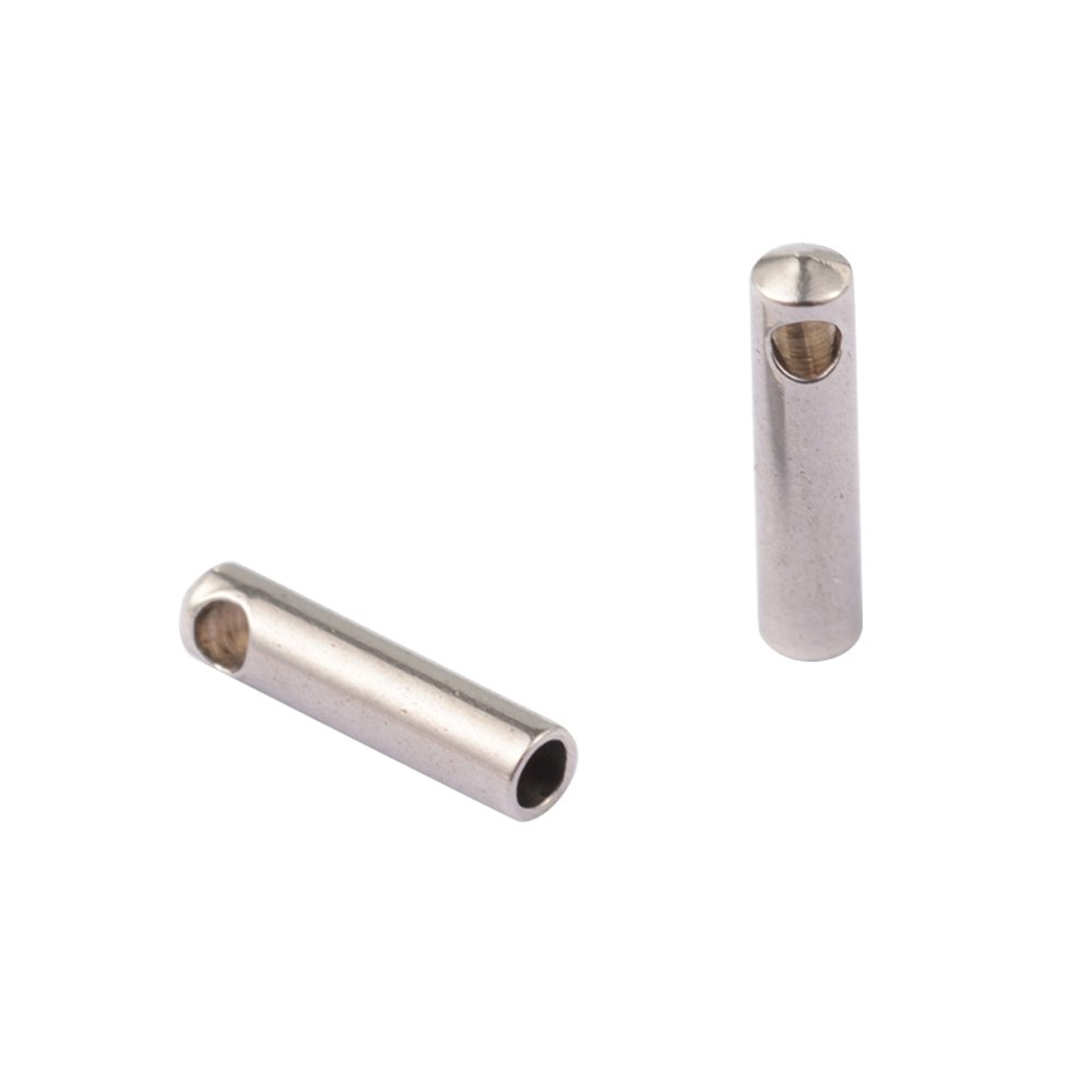 NBEADS 100 pcs 304 Stainless Steel Cord Ends,7x1.8mm, Hole: 1mm; Inner Diameter: 1mm,Stainless Steel Color