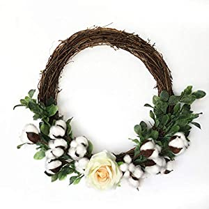 Yiwa Simulate Cotton Flower Wreath Garland Hanging Pendant for Christmas Home Door Decoration 14.5 Inches 74