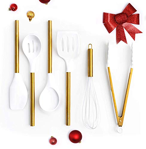 White Silicone and Gold Cooking Utensils for Modern Cooking and Serving, Stainless Steel Gold Serving Utensils…