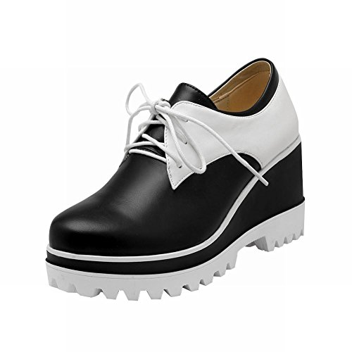 Carolbar Mujeres Lace Up Fashion Popular Assorted Colors Wedge Heel Oxfords Zapatos Negro