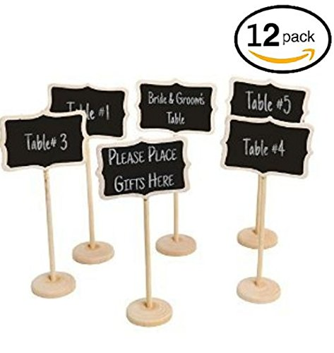 Holiday Chalkboard Sign Mini Rectangle Sturdy Stand For Wedding Party Table Numbers, Place Card, Party Favor, Message Board, Or Daily Home Decoration,12 Pcs. By Mega Stationers (The Daily Sign This Is Halloween)