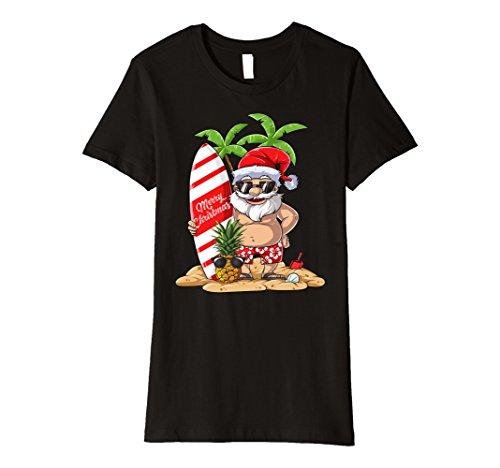 Womens Santa Hawaiian Surfing T Shirt Christmas Summer Surf Hawaii Large - Hawaii In Sunglasses Made
