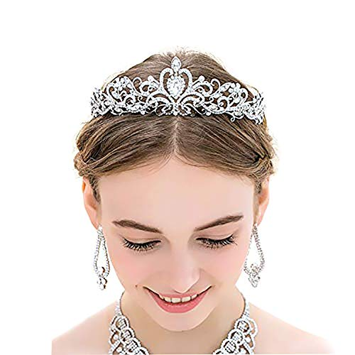 Silver Crystal Tiara Crystal Crown Headband Princess Elegant Crown with combs for Girls Bridal Wedding Prom Birthday Party Women, 2 Pack
