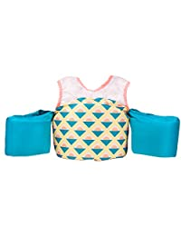 Little Fin Swimmer Float Vest for Pool, Pink, Yellow, Blue Kids Life Jacket from 30 to 50lbs, Toddler Swim Vest with Arm Wings Girls Capri Swimmer