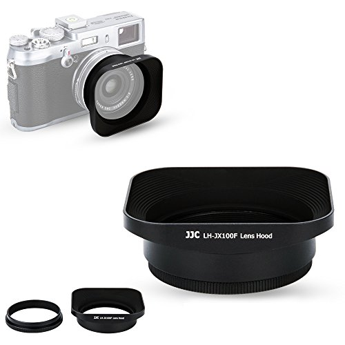 JJC LH-X100 Reversible Lens Hood Sun Shade with 49mm Filter Adapter Ring for Fuji Fujifilm X100V X100F X100T X100S X100 Digital Camera, Metal Material and Black Color