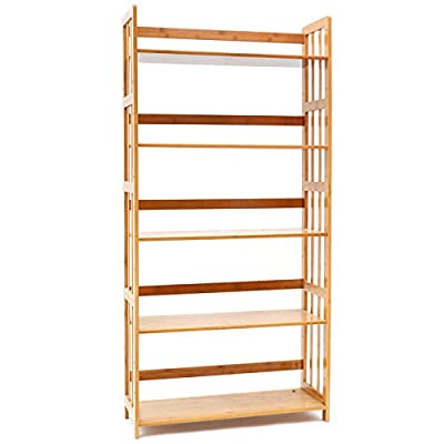Bookcase Multifunctional Storage Rack 5 Tier Bookshelf Bamboo Natural - High-quality Materials Book Rack: High quality natural bamboo and hardware accessories, health water-based paint, elegant qualities, natural eco-friendly materials with no smell Multifunction Usage Storage Rack: The Thicker layer, super load-bearing, can be used as bookcase shelves, blue X-ray, DVD, CD display shelving, kitchen storage rack, plant stand in living room, kitchen, bathroom, hallway, entryway, garage Adjustable Bamboo Bookcase: 5 Thicker Tiers removable layers with environmental protection painting, durable, smooth finish, no burr. Can be adjustable by your daily various requirement conveniently and quickly - living-room-furniture, living-room, bookcases-bookshelves - 41t0bf7KfkL. SS400  -