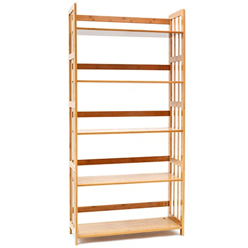 Bookcase Multifunctional Storage Rack 5 Tier Bookshelf Bamboo Natural For Sale