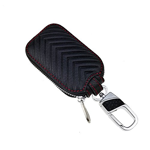 Leather Bag Really (KUMEED Car Key Chain Bag Key Chains Genuine Leather Smart KeyChain Coin Holder Case Cover Pouch Remote Fob Bag Keyring Wallet Zipper Case Black)