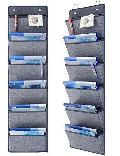 "Onlyeasy Wall Mount Hanging File Folders - Over Door Hanging Storage Organizer Magazine Storage Holders for Notebooks Planners, 50 x 13"", 6 Pockets Grey, 8MXDZ06C"